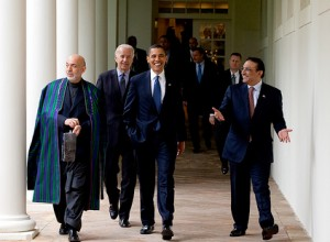 (President Barack Obama (center) with Afghan President Karzai and Pakistan President Zardari walk along the Colonnade following a US-Afghan-PakistanTrilateral meeting in Cabinet Room May 6, 2009. Official White House Photo by Pete Souza)
