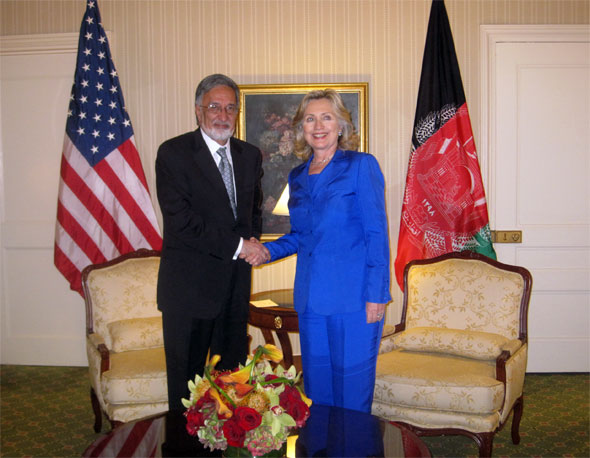 H.E.Dr. Zalmai Rassoul and Secretary of State of the United States of America Mrs. Hillary Rodham Clinton