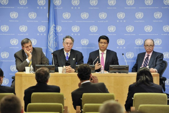 Press Conference by International Contact Group on Afghanistan H.E. Ershad Ahmadi (second from right), Afghan Deputy Minister for Foreign Affairs, speaks at a press conference on the International Contact Group on Afghanistan, following its meeting today at UN Headquarters.