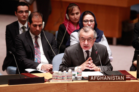 H.E. Zahir Tanin, Permanent Representative of Afghanistan to the UN, addresses the Security Council meeting on the situation of Afghanistan