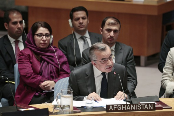 H.E. Zahir Tanin, Permanent Representative of Afghanistan to the UN, addresses the Security Council meeting on the situation in Afghanistan.