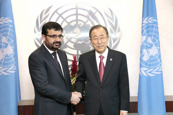 Secretary-General Ban Ki-moon (right) meets with Zarar Ahmad Osmani, Minister for Foreign Affairs of Afghanistan.