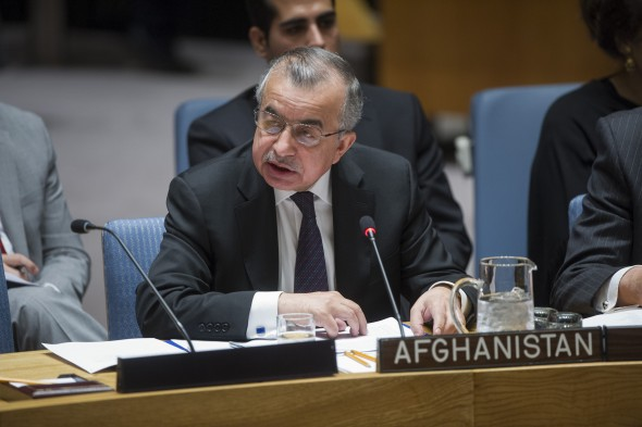 H.E. Zahir Tanin, Permanent Representative of Afghanistan to the UN, addresses the Security Council meeting on the situation in Afghanistan its implications for international peace and security.