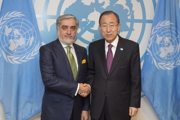 Secretary-General Ban Ki-moon (right) meets with H.E. Dr. Abdullah Abdullah, Chief Executive of the Islamic Republic of Afghanistan.