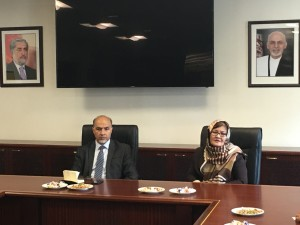 H.E. Dilber Nazari, Minister of Women's Affairs visited the Permanent Mission of Afghanistan to the United Nations on Oct 22 and addressed the staff of the Mission and the Consulate.