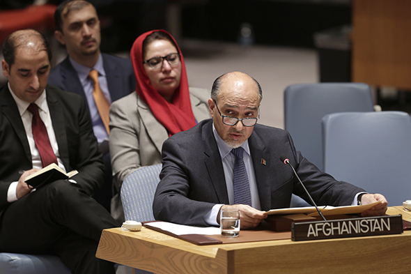 H.E. Mahmoud Saikal, Permanent Representative of Afghanistan to the UN, addresses the Security Council meeting on the situation in Afghanistan.
